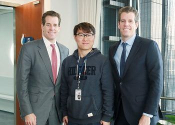 Huobi CEO Leon Li and COO Robin Zhu Meet Cameron and Tyler Winklevoss to Discuss Global Synergy (PRNewsfoto/Huobi Group)