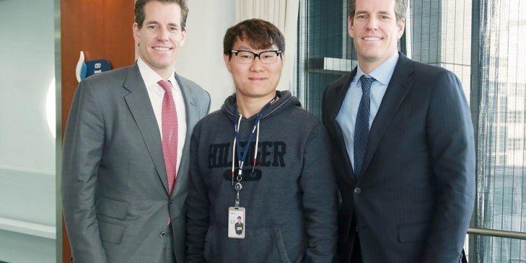 Huobi CEO Leon Li and COO Robin Zhu Meet Cameron and Tyler Winklevoss to Discuss Global Synergy (PRNewsfoto/Huobi Group)