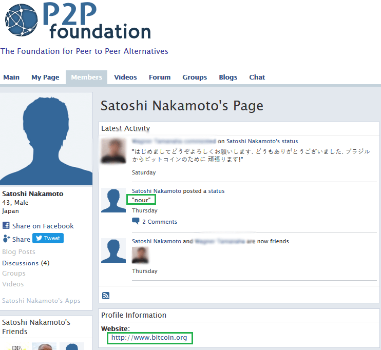 "A one-word status, ""nour"", meaning 'light' in Arabic has been posted on Satoshi Nakamoto profile."