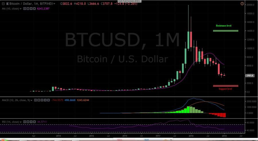 BTC/USD 1 Month Chart, Bitfinex