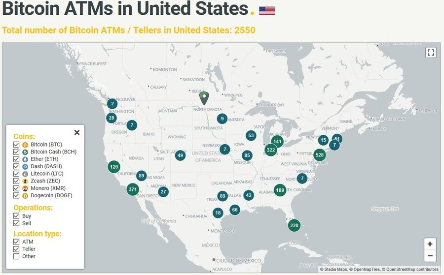 В мире насчитывается 4228 банкоматов с биткоинами, и более половины из них находятся в Соединенных Штатах — 2550 пунктов.