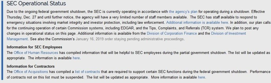 SEC Operational Status Message on the official website.