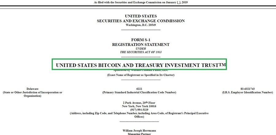 "United States Bitcoin and Treasury Investment Trust (the ""Trust"") announced today that the Trust has filed a registration statement on Form S-1 with the Securities and Exchange Commission (SEC) relating to the proposed initial public offering of its common shares."