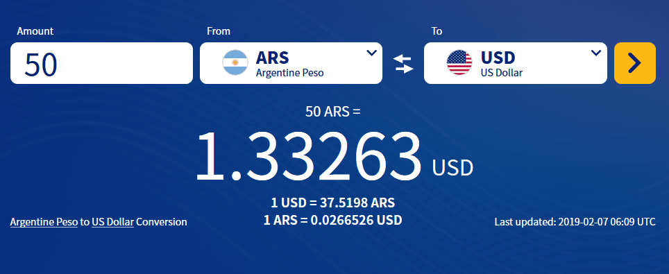 50 Argentine Peso to USD conversion.