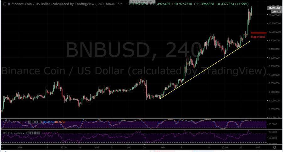 BNB-USD 4H Chart - February 20