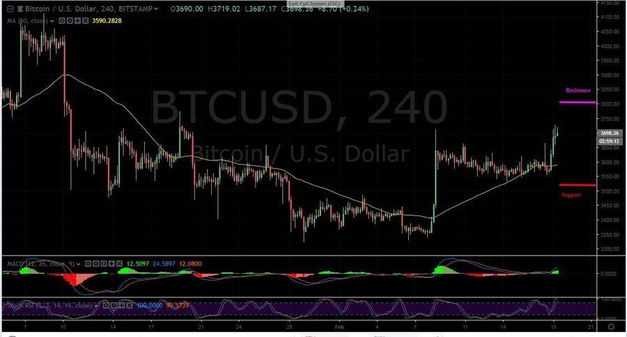 BTC-USD 4H - February 18