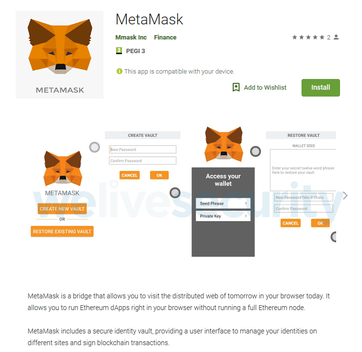 Fraudulent App on Google Play Impersonates MetaMask and Steal the Victim's Ethereum. welivesecurity.com image
