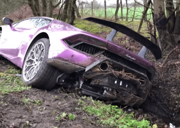 Bitstocks CEO Crashes His $500k Lambo in a Ditch After Spinning Off a Road Main