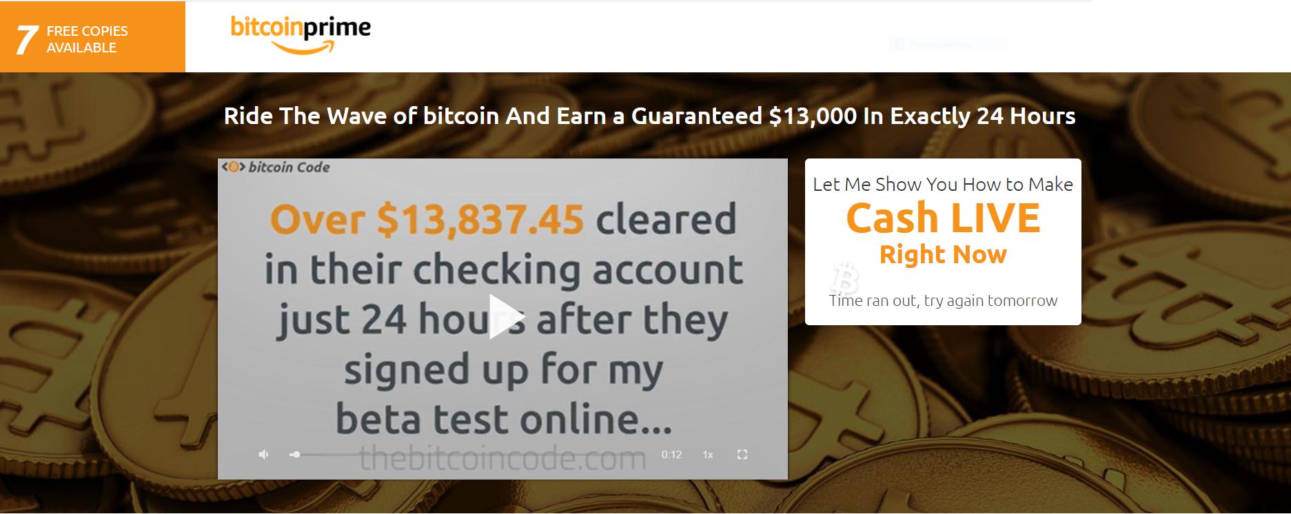 bitcoin prime main screen